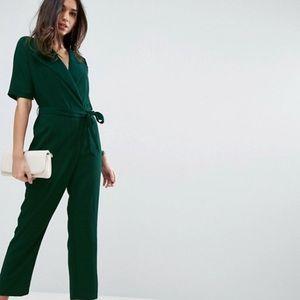 NWT ASOS Design Wrap Green Jumpsuit